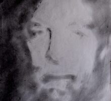Self Portrait Using Graphite Powder. by Richard  Tuvey
