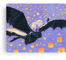 Rapunzel Riding Toothless Canvas Print