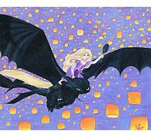 Rapunzel Riding Toothless Photographic Print