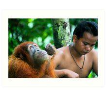 Orangutan rescue centre in Sumatra Art Print