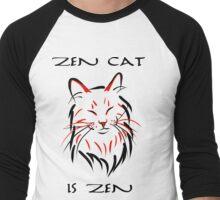 Zen Cat (With Text) Men's Baseball ¾ T-Shirt