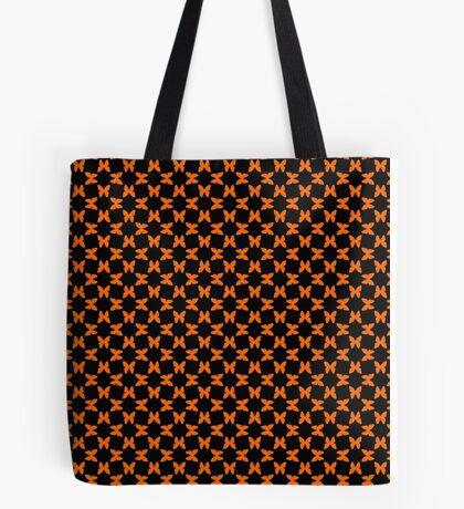 Orange Random Butterflies on Black Tote Bag