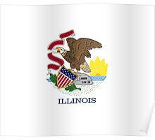 Illinois USA State Flag Chicago Bedspread T-Shirt Sticker Poster