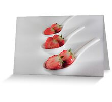 three strawberries in bed Greeting Card