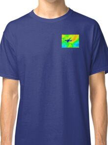 Blue Plane in Neon Sky_001 Classic T-Shirt