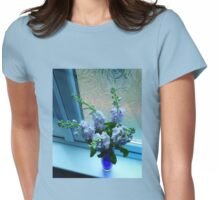 Flowers Dreaming in Blue Light Womens Fitted T-Shirt