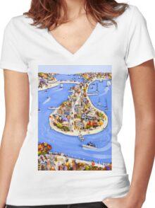 Island getaway Women's Fitted V-Neck T-Shirt