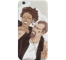 Tiny lady & awesome biker dude iPhone Case/Skin