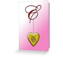 E Golden Heart Locket Greeting Card