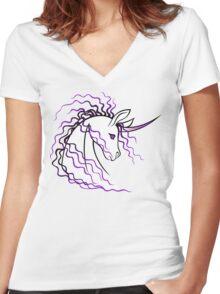 Ki-Rin (Japanese Unicorn) - Purple Women's Fitted V-Neck T-Shirt