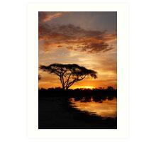 Okavango Delta sunset Art Print