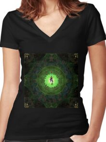 Green Tara Mantra- Protection from dangers and suffering. Women's Fitted V-Neck T-Shirt