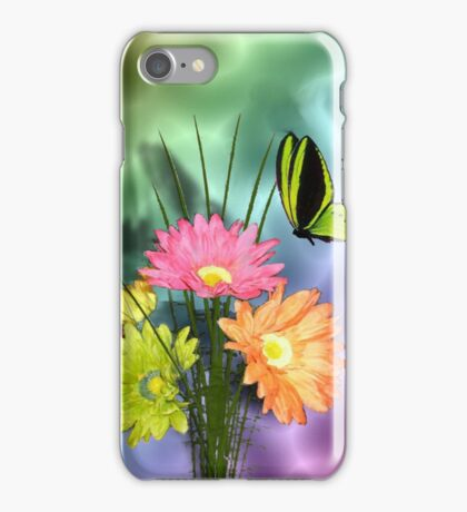 Painted Daisies and Butterflies iPhone Case/Skin