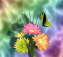 Painted Daisies and Butterflies by Edmond  Hogge