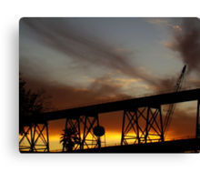 Sunset On The Huey P. Long Bridge Railroad  Canvas Print