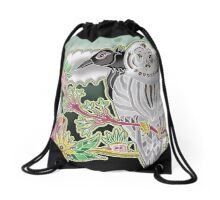 owl and crow Drawstring Bag