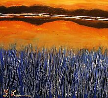 Reeds in the Sunset twilight zone by gilbertlamm