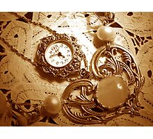 """A Vintage Timepiece In Sepia"" Photographic Print"