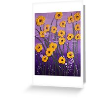 Cloudy With A Chance of Flowers, Highly Textured, Mixed Media Greeting Card