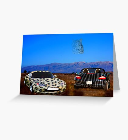 Animal cars, leopard and zebra Greeting Card