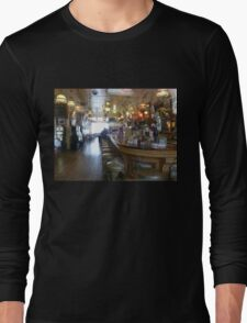 Haunted? What sits on the 2nd bar stool in front? Long Sleeve T-Shirt