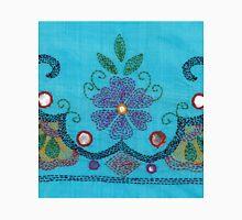 Kantha Fabric Art On Turquoise Pure Silk Unisex T-Shirt