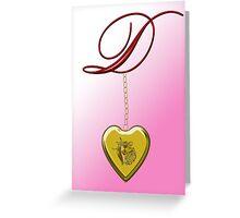 D Golden Heart Locket Greeting Card