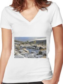 Snow at Mt Field Women's Fitted V-Neck T-Shirt