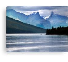 Lake Maligne-Canoes Canvas Print