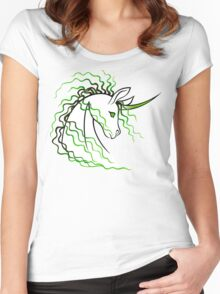 Ki-Rin (Japanese Unicorn) - Green Women's Fitted Scoop T-Shirt
