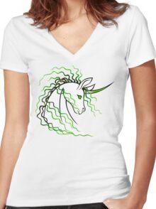Ki-Rin (Japanese Unicorn) - Green Women's Fitted V-Neck T-Shirt