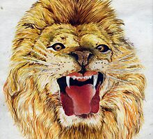 A Lion ... a water colour.. 1952... by Larry Llewellyn