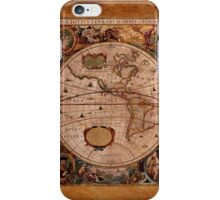 Hondius's 1630 AD World Map on Parchment effect BG iPhone Case/Skin