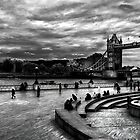 View of Tower Bridge and Tower Hill in monochrome, London by Elana Bailey