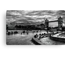 View of Tower Bridge and Tower Hill in monochrome, London Canvas Print