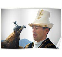 Kyrgyz eagle hunter with his bird Poster