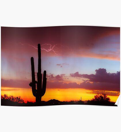 Arizona Sunset with Lightning Strike Poster