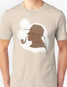 Sherlock Holmes Literary Quote Typography Man Cave Art Manique London Detective Brown Tweed Pattern Unisex T-Shirt