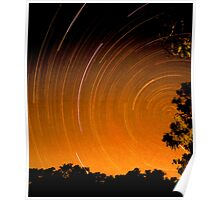 Startrails at Trilby on the Darling River, NSW Poster