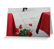 shoes, flowers & tablecloths....Piazza della Repubblica Greeting Card