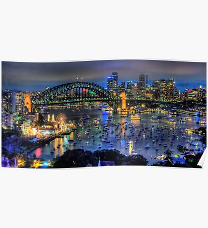 City Of Light - New Years Eve, Sydney Harbour ,Australia - The HDR Experience Poster