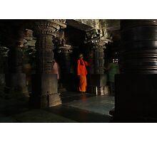 Orange man, Somnathpur, India Photographic Print