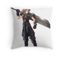 Final Fantasy 7 - FF7 - FFVII - Cloud, with buster sword. Throw Pillow