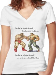 Zangief and Haggar, powerbombs and lariats Women's Fitted V-Neck T-Shirt