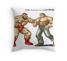 Zangief and Haggar, powerbombs and lariats Throw Pillow