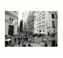 New York Wall Street & Stock Exchange Black and White Art Print