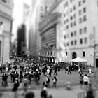 New York Wall Street & Stock Exchange Black and White by Gerald Holubowicz