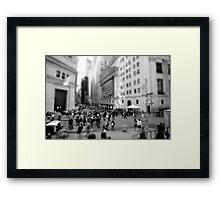 New York Wall Street & Stock Exchange Black and White Framed Print