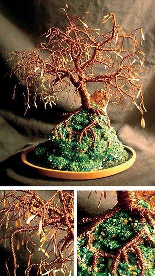 Copper Island, wire tree sculpture by Sal Villano