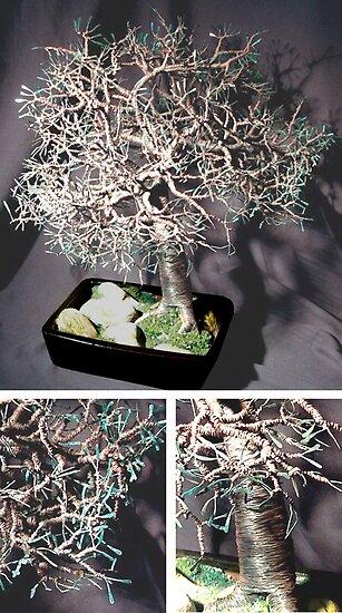 Mighty Oak Bonsai, wire tree sculpture by Sal Villano